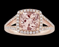 Morganite and Diamond Ring, 2.26 Carats~ A 2.26-carat morganite dazzles in this sophisticated ring. The blush-colored jewel rests in its 14K rose gold mounting and is perfectly accented by 0.31 carat of white diamonds. ~M.S. Rau Rare Gemstones, Alexandrite, White Diamonds, Peridot, Garnet, Heart Ring, Blush, Rose Gold, Jewels