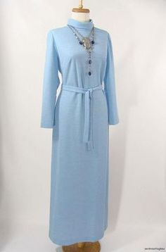 $74.95 vintage 60s 70s Edith Flagg LIght Blue Wool Jersey Maxi Dress Boho MOd M L by #wardrobetheglobe on #ebay