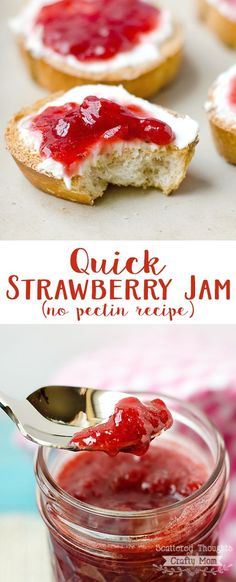 Quick and easy homemade strawberry jam recipe - without pectin. Quick and easy homemade strawberry jam recipe - without pectin. Quick and easy homemade strawberry jam recipe - without pectin. Jelly Recipes, Dessert Recipes, Desserts, Easy Jam Recipes, Drink Recipes, Homemade Strawberry Jam, Strawberry Jam Recipes, Strawberry Preserves Recipe Without Pectin, Strawberry Jelly Recipe Canning