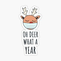 """Will you be celebrating your first quarantined Christmas this year? Then this design is perfect for you. It features the funny text """"oh deer what a year"""" and has Rudolph with a facemask on it. This design is funny as a greeting card for Christmas 2020! #christmas #christmas2020 #sticker #greetingcard #christmascard #funny #funnychristmas #xmas #xmas2020 Christmas Puns, Christmas Scenery, Christmas Crafts, Christmas Text, Christmas Quotes, Funny Christmas Cards, Holiday Cards, Christmas Drawing, Oh Deer"""