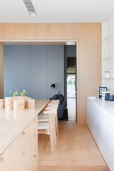 the light wood and dark grey, Alfred Road Residence by StudioFour