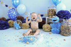 Cookie monster inspired birthday garland with milk and cookies, Cookie monster inspired garland, sesame street birthday garland Baby First Birthday, Boy Birthday Parties, Birthday Cake, Birthday Ideas, Monster 1st Birthdays, First Birthdays, Monster Smash Cakes, Cake Smash, 1st Birthday Photoshoot
