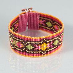 Flappers Paradise Bead Loom Bracelet Artisanal by PuebloAndCo