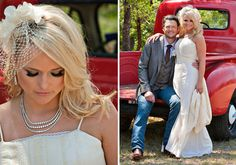 Miranda Lambert wore her hair down in waves with her bangs swept to one side and a birdcage veil.  Photo: Robert Evans