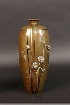 Pair of japanese bronze vases signed miyabe atsuyoshi -