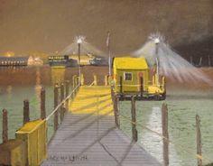 Pre-dawn Vineyard Haven Fishing Dock. 11 x 14 oil on canvas board, #marthasvineyard #vineyardhaven #harbor #fishingdock #fishing #dock #painting #art