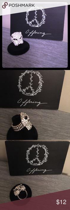 Selling this Silver rhinestone lion stretch ring on Poshmark! My username is: lrabenko. #shopmycloset #poshmark #fashion #shopping #style #forsale #Jewelry