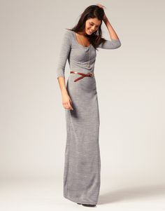 vero moda knitted urban maxi dress with belt - getting a Maxi one of these days! Looks Chic, Looks Style, Style Me, Look Fashion, Womens Fashion, Fashion Models, Autumn Winter Fashion, Winter Maxi, Fall Winter