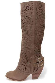 Naughty Monkey Fast Times Taupe Suede Leather Laser-Cut Boots at LuLus.com! My eye is on you my pretties.