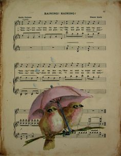 Umbrella Birds Painting original mixed media finches on antique child's music book page, etsy. SOLD