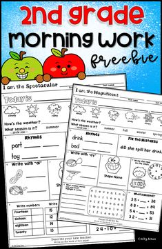 Second Grade Morning Work Freebie includes practice of numbers words, missing addends, addition, subtractions, time, shapes, long vowels, punctuation, rhymes, weather, seasons, and date.  Great for the classroom, homeschool, and at home learning or distance learning. Smart Board Activities, Rhyming Activities, Phonics Worksheets, School Worksheets, Teacher Education, Teacher Pay Teachers, Bell Work, Second Grade Teacher, Number Words