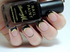 Marine Loves Polish: Classy french manicure, nail art with black & gold tips Reverse French Manicure, Black French Manicure, French Tip Nails, Black Nail, Black Gold, Nail Manicure, Nail Polish, Manicures, Cat Nail Designs