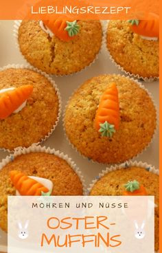 Rezept für Saftige Oster-Muffins mit Karotten These juicy, delicious carrots / carrots / Rübli muffins not only taste great at Easter, but are also a great gift for the Easter table. Dessert Simple, Healthy Dessert Recipes, Easy Desserts, Muffins Sains, Easter Dinner Recipes, Taiwanese Cuisine, Le Diner, Healthy Muffins, Muffin Recipes