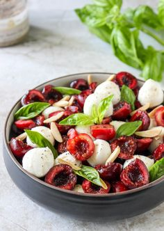Cherry Caprese Salad with Toasted Almonds and Smoked Sea Salt