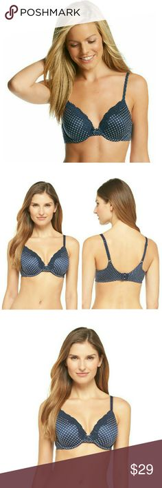 New! Maidenform Lace-trim Comfy T-shirt Bra NWT Brand New With Tags!   Maidenform's Comfort Devotion bra redefines comfort with exceptional softness and unparalleled support  Color: Navy with White Dot  -Extra coverage contour underwire cups with lace trim -Adjustable straps -Ultra-soft lined foam cups. No-show cups -Hook-and-eye closure at back -Plush fabric inside and out Super soft wire casing for ultimate comfort -Delicate lace trim -Smoothing wing and leotard back keep straps from…