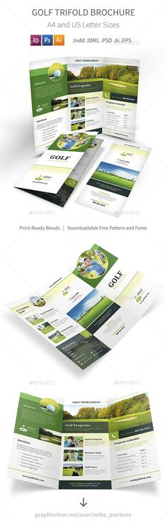 Golf Trifold Brochure Template PSD, Vector EPS, InDesign INDD, AI Illustrator