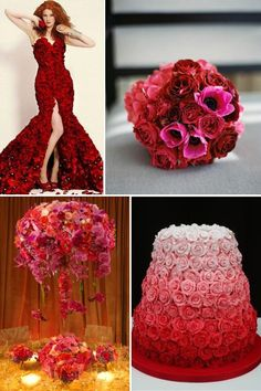 Love the ombre cake and a gorgeous red dress for the reception!