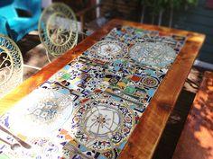 Custom Made Reclaimed Lumber Inlaid Mosaic Outdoor Patio Table Mosaic Tray, Mosaic Backsplash, Wood Mosaic, Mosaic Tiles, Tile Art, Mosaic Glass, Stained Glass, Mosaic Outdoor Table, Outdoor Table Tops