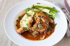 #Chicken #Chasseur: Strips of chicken sautéed in Espagnol sauce served with garlic mashed potato.