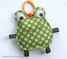 Eric the Frog Crinkle Toy comes with Teething Ring Link - Great Baby Boy Gift