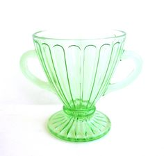 Green Depression Glass Sugar Bowl | Green Depression Glass Sugar Bowl Vintage by CarpeDiemTreasures