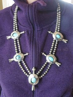 Commissioned and owned by one owner since the late 1970's, this is a fabulous Contemporary Peyote Bird Squash Blossom necklace and matching ring set! It was patterned after a necklace that appeared in the January 1974 issue of Arizona Highways. | eBay!