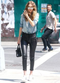Gigi Hadid Makes Lace-Up Leather Pants Look Surprisingly Casual from InStyle.com