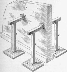 Needle beam. In shoring, the horizontal cross timber which goes through the wall or a pier, and upon which the weight of the wall rests, when a building is shored up to allow of alterations in the lower part.