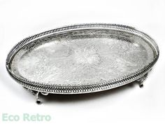 Vintage Etched Oval Silver Plated Pierced Gallery