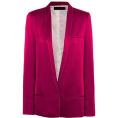 Haider Ackermann Satin blazer ($1,140) ❤ liked on Polyvore featuring outerwear, jackets, blazers, haider ackermann, blazer jacket, purple blazer, satin blazer jacket, purple jacket and satin jackets