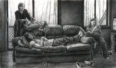 Obras de Arte: Edgar Jerins ,dibujos a carboncillo