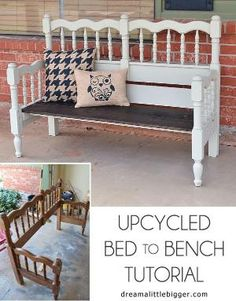 Turn an unused headboard and foot board into a fabulous front porch bench! by Kathy Nethken Daniels
