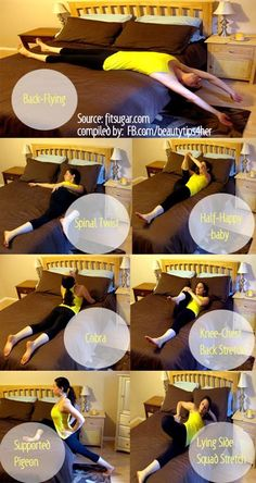 On The Bed Workout! Who needs a yoga mat when you got a bed? Fitness, Workouts, Easy workouts.