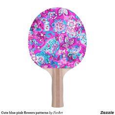Shop Cute blue pink flowers patterns Ping-Pong paddle created by ForArt. Ping Pong Paddles, Flower Patterns, Pink Flowers, Create, Circles, Squares, Prints, Blue, Color