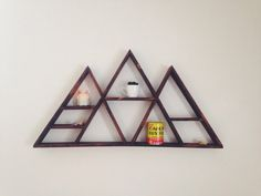 Giant geometric mountain shelf is an amazing statement piece! wide and 23 inches tall. in deep ---MADE TO ORDER--- Take weeks to Mountain Shelf, Mountain Decor, Geometric Shelves, Geometric Mountain, Triangle Shelf, Room Decor, Wall Decor, Wall Art, Home Projects