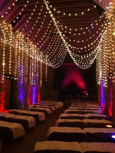 The gorgeous Barn set up for our very first wedding. We don't have these lights anymore but they can easily be hired in!