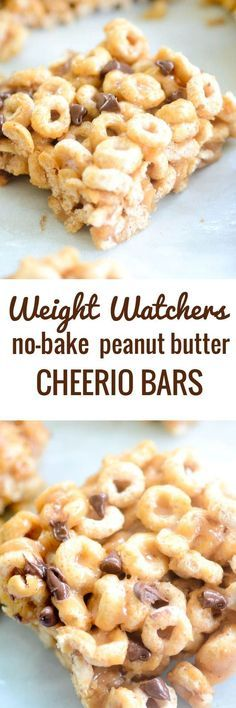 Weight Watchers No-Bake Peanut Butter Cheerio Bars - Recipe Diaries #bars #cheerios More
