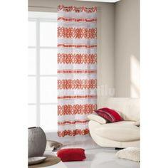 Oranžovo biele závesy s abstraktnými vzormi
