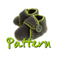 PATTERN  Felted wool baby booties with ankle strap by knit1sip2, $3.95