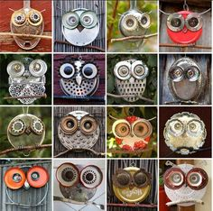 Owl art from plates and can lids