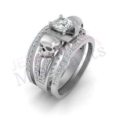 10 Best Skull Wedding Ring Set Images On Pinterest Skull Wedding