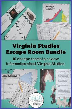 Are you looking for a fun way to review the Virginia Studies SOLs? This Virginia Studies Escape Rooms Bundle comes with 10 Virginia Studies Escape Rooms that students will love! #vestals21stcenturyclassroom #virginiastudies #virginiastudies4thgrade