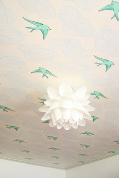 Wallpaper on the Ceiling - Looks cool but might be painful if you change your mind.