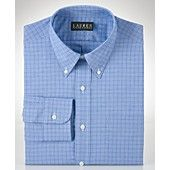 Lauren by Ralph Lauren Mens Dress Shirt, Blue Glen Plaid Shirt