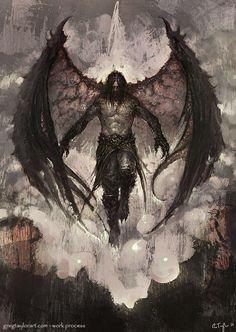 Raven Lord - With Walk-through by GregTaylorArt on DeviantArt - Garbril, Son of Hellas. Demon of Decay - Dark Fantasy Art, Fantasy Artwork, Fantasy World, Dark Art, Fantasy Men, Fantasy Creatures, Mythical Creatures, Angel Warrior, Demon Art