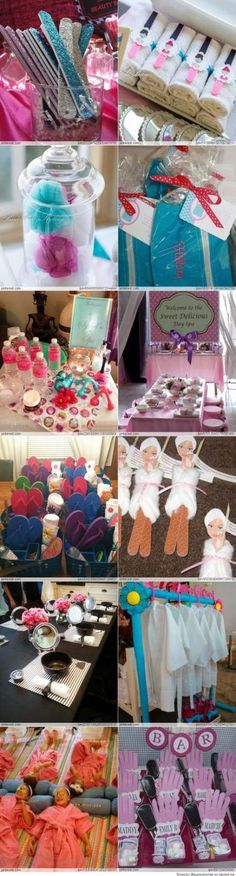 Great spa party ideas for girls Makeup Ideas makeup ideas for 10 year olds Lila Party, Spa Day Party, Girl Spa Party, Pamper Party, 13th Birthday Parties, Birthday Party For Teens, Festa Party, Sleepover Party, Birthday Crafts