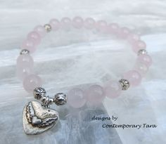 A personal favorite from my Etsy shop https://www.etsy.com/listing/246116502/rose-quartz-stretch-bracelet-pink