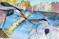 Great Blue Heron Presenting Branch signed limited by KyankaStudio