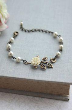 Creamy Ivory Dahlia Mum Flower Brass Leaf Ivory Pearls