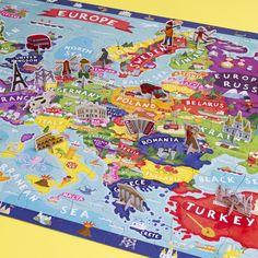 Ako priviesť k láske ku geografii a cestovaniu svoje deti? Puzzle od Crocodile Creek s mapu Európy sa o to postará. Okrem klasických 100 dielikov ponúka aj diely so stojačikom, ktoré predstavujú typické budovy či zvyklosti v danej krajine.